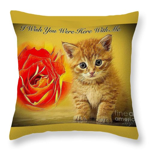 Roses Throw Pillow featuring the photograph Roses And Kittens Textured by Saundra Myles