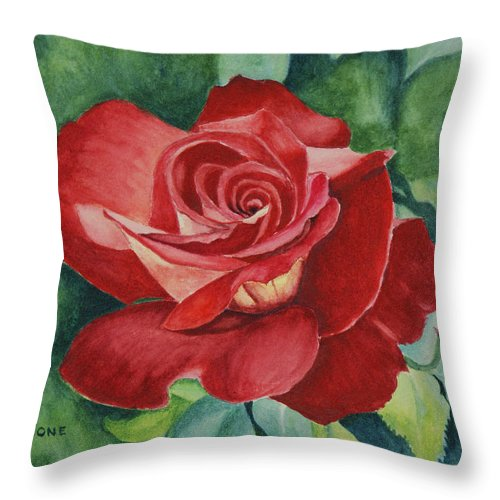 Floral Throw Pillow featuring the painting Roses Are Red by Jill Ciccone Pike
