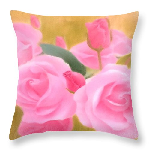 Rose Throw Pillow featuring the painting Roses by Esther Lau