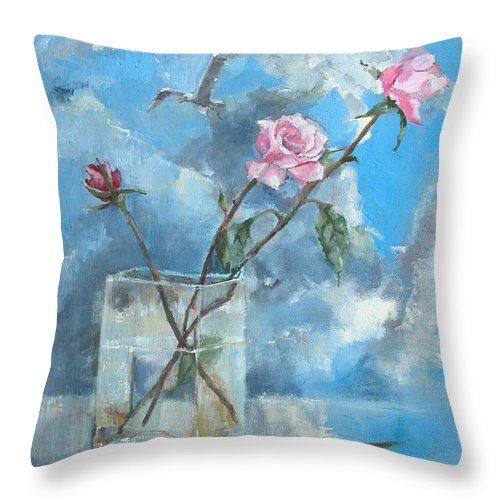 Roses Throw Pillow featuring the painting Roses In The Window by Synnove Pettersen