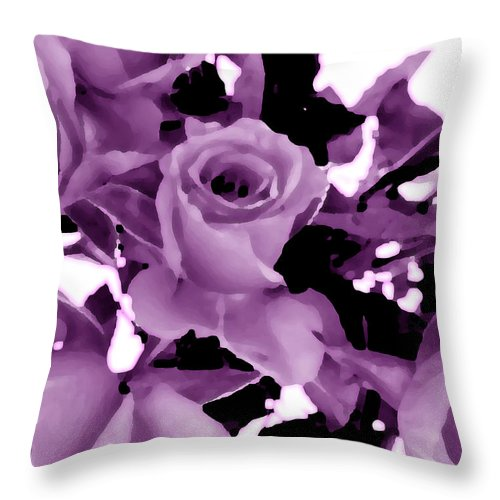 Lilac Throw Pillow featuring the digital art Roses - Lilac by Louise Grant
