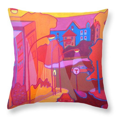 Cityscape Throw Pillow featuring the painting Roslindale Never Looked so Red by Debra Bretton Robinson