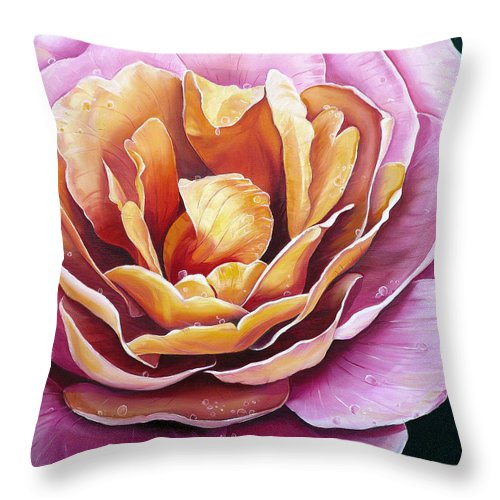 Rose Painting Pink Yellow Floral Painting Flower Bloom Botanical Painting Botanical Painting Throw Pillow featuring the painting Rosy Dew by Karin Dawn Kelshall- Best