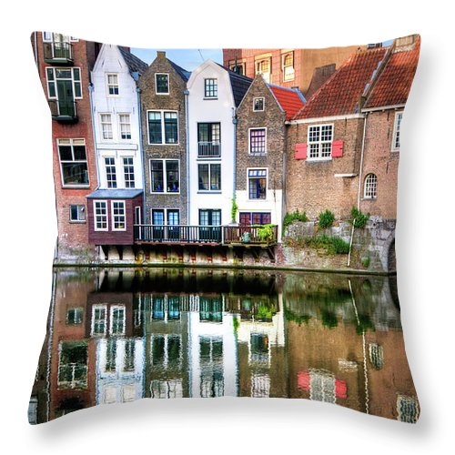 Dawn Throw Pillow featuring the photograph Rotterdams Delfshaven With His Historic by Aleksandargeorgiev