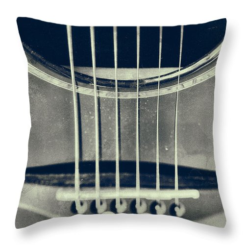 Guitar Throw Pillow featuring the photograph Rough Acoustic by Karol Livote