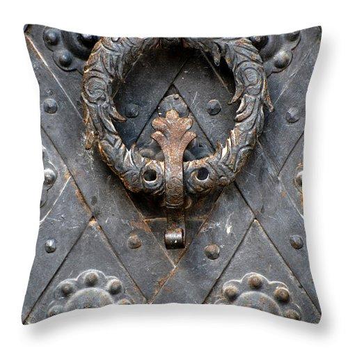 Metal Throw Pillow featuring the photograph Round Metal Doorknob by Jaroslaw Blaminsky