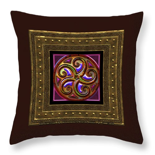 Abstract: Color; Abstract: Geometric Throw Pillow featuring the digital art Roundaboutspento by Ann Stretton