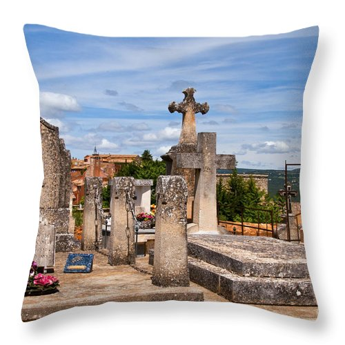 Roussillon France Cemetery Cemeteries Gravesite Gravesites Cross Crosses Graveyard Graveyards Landscape Landscapes Provence Throw Pillow featuring the photograph Roussillon Cemetery by Bob Phillips