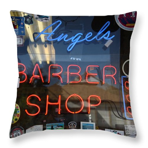 66 Throw Pillow featuring the photograph Route 66 - Angel's Barber Shop by Frank Romeo