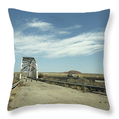 66 Throw Pillow featuring the photograph Route 66 Bridge - New Mexico by Frank Romeo