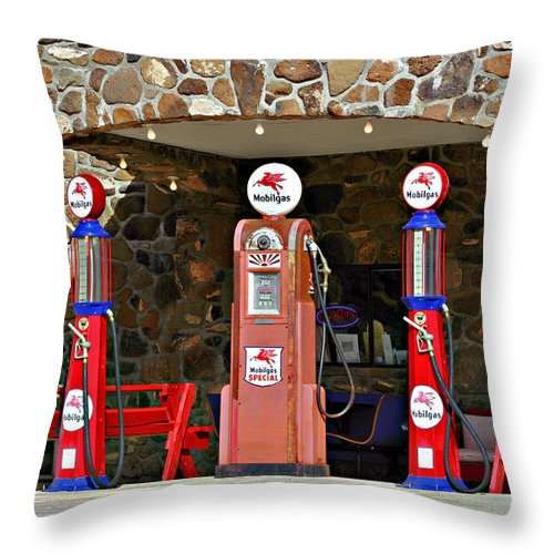 Western Throw Pillow featuring the photograph Route 66 - Cool Springs Camp Az by Christine Till