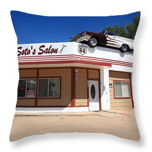 66 Throw Pillow featuring the photograph Route 66 - Desoto's Salon by Frank Romeo
