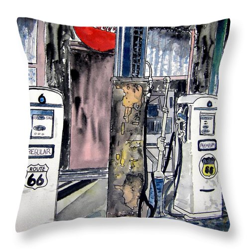 Watercolor Throw Pillow featuring the painting Route 66 Gas Station by Derek Mccrea