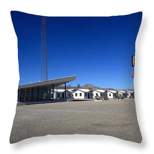 66 Throw Pillow featuring the photograph Route 66 - Roy's Cafe by Frank Romeo