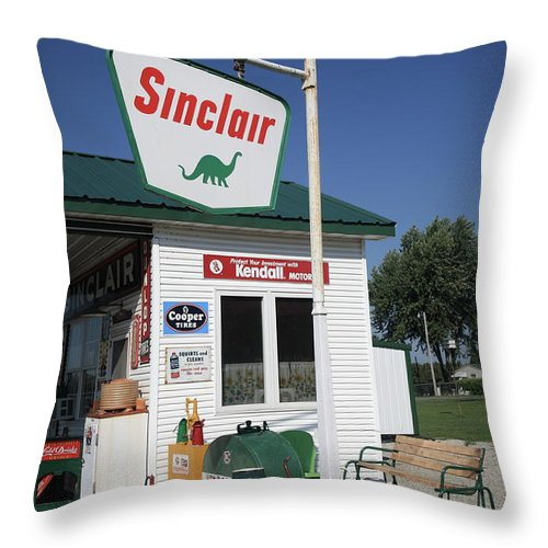 66 Throw Pillow featuring the photograph Route 66 - Sinclair Station by Frank Romeo