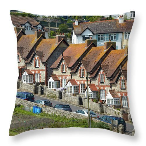 Row House Throw Pillow featuring the photograph Row Of Houses by Allan Baxter