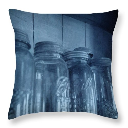 Row Throw Pillow featuring the photograph Row Of Jars by Birgit Tyrrell