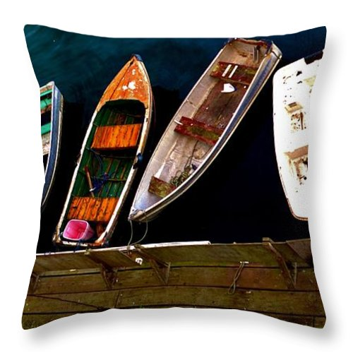 Barbara Snyder Throw Pillow featuring the digital art Row Of Rowboats by Barbara Snyder