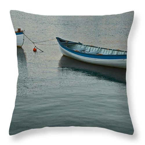 Boat Throw Pillow featuring the photograph Rowboats by Michael Porchik