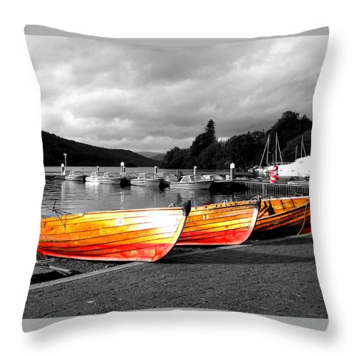 Boat Throw Pillow featuring the photograph Rowing Boats Ready For Work by Steve Kearns