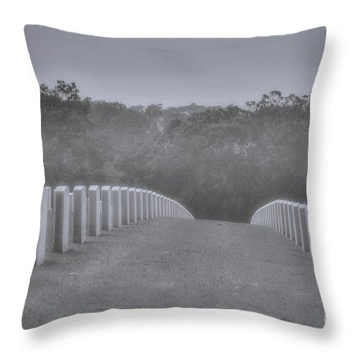 Golden Gate Bridge Throw Pillow featuring the photograph Rows Of Heroes by Tommy Anderson