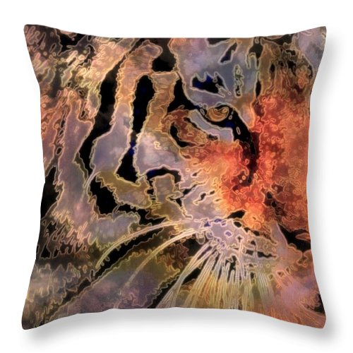 Big Cats Throw Pillow featuring the mixed media Royal Beauty by Wendie Busig-Kohn