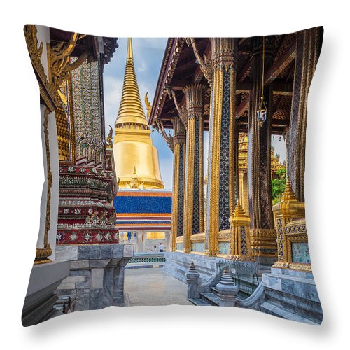 Asia Throw Pillow featuring the photograph Royal Grand Palace Columns by Inge Johnsson