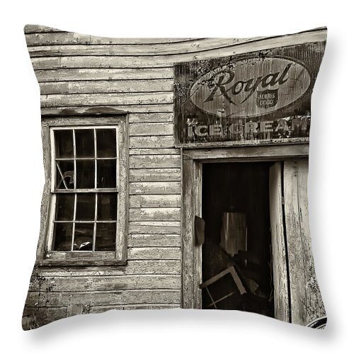 Store Throw Pillow featuring the photograph Royal Ice Cream Sepia by Steve Harrington