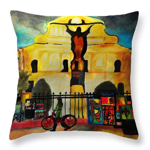 New Orleans Throw Pillow featuring the painting Jesus And Bourbon by Jill Jacobs