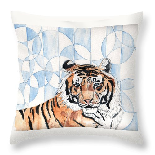 Tiger Throw Pillow featuring the painting Royal Mysticism by Crystal Hubbard