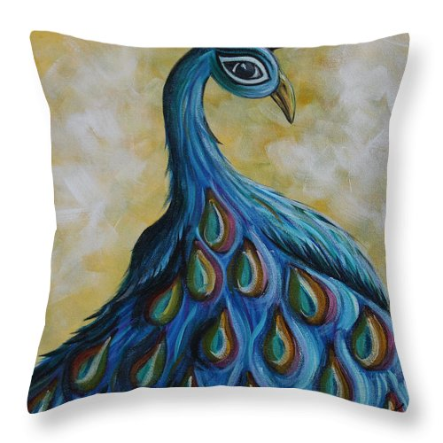 Peacock Throw Pillow featuring the painting Royalty by Molly Roberts