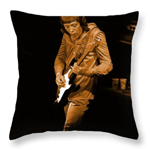 Robin Trower Throw Pillow featuring the photograph Rt #17 Crop 2 Enhanced In Amber by Ben Upham