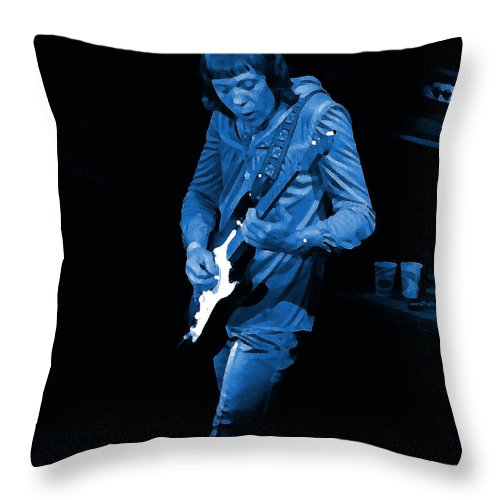 Robin Trower Throw Pillow featuring the photograph Rt #17 Crop 2 Enhanced In Blue by Ben Upham