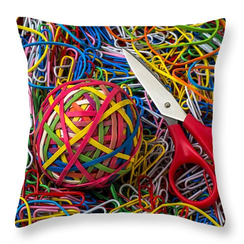 Rubber Band Throw Pillow featuring the photograph Rubber Band Ball With Sccisors by Garry Gay