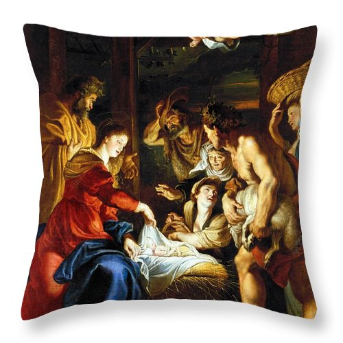 1608 Throw Pillow featuring the photograph Rubens Adoration by Granger