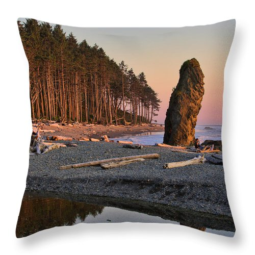 Landscape Throw Pillow featuring the photograph Ruby Beach by Don Hall