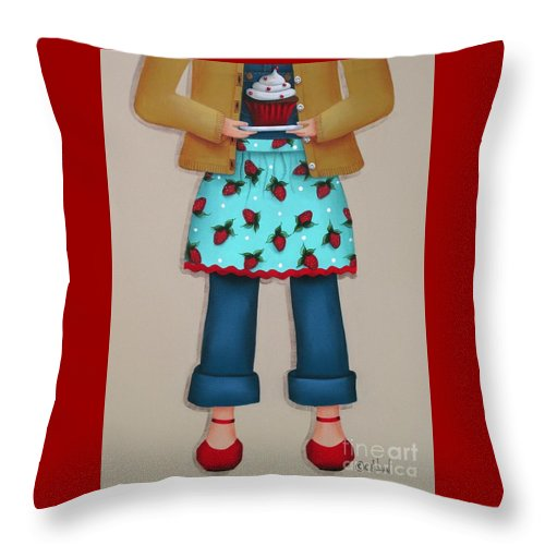 Art Throw Pillow featuring the painting Ruby's Red Shoes by Catherine Holman