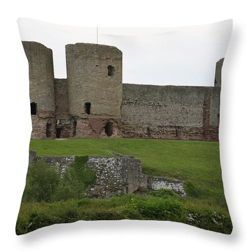 Castles Throw Pillow featuring the photograph Ruddlan Castle 2 by Christopher Rowlands