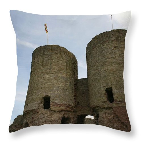 Castles Throw Pillow featuring the photograph Ruddlan Castle by Christopher Rowlands
