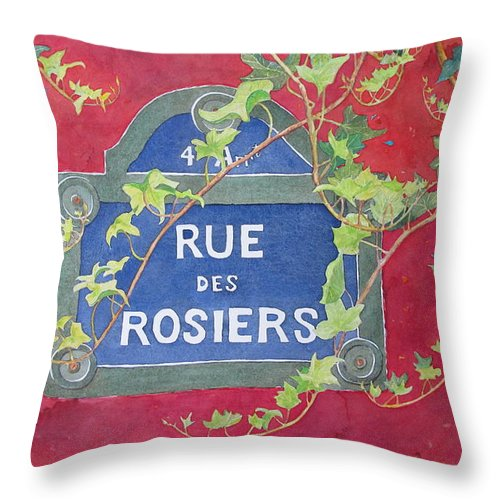 Red Wall Throw Pillow featuring the painting Rue Des Rosiers In Paris by Mary Ellen Mueller Legault