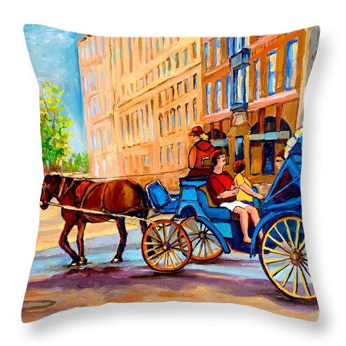 Rue Notre Dame Throw Pillow featuring the painting Rue Notre Dame Caleche Ride by Carole Spandau