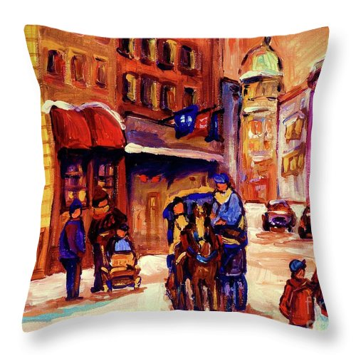 Montreal Throw Pillow featuring the painting Rue St. Paul Old Montreal Streetscene In Winter by Carole Spandau