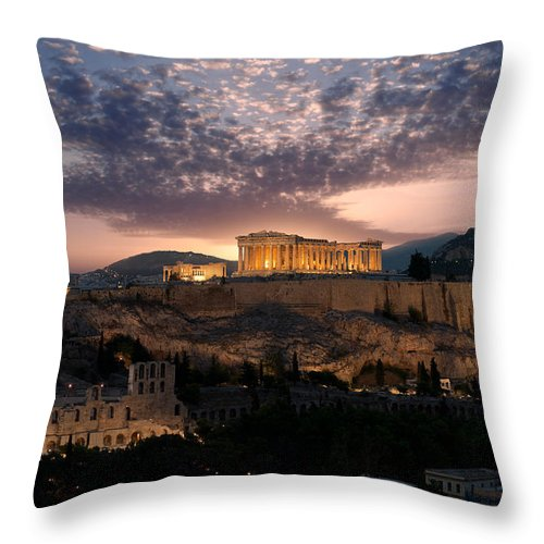 Photography Throw Pillow featuring the photograph Ruins Of A Temple, Athens, Attica by Panoramic Images