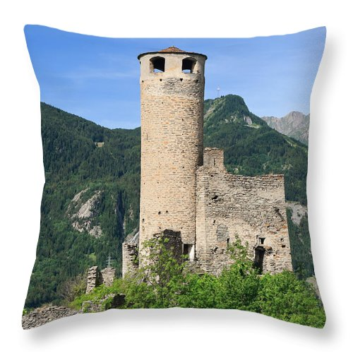 Alps Throw Pillow featuring the photograph ruins of Chatelard castle by Antonio Scarpi