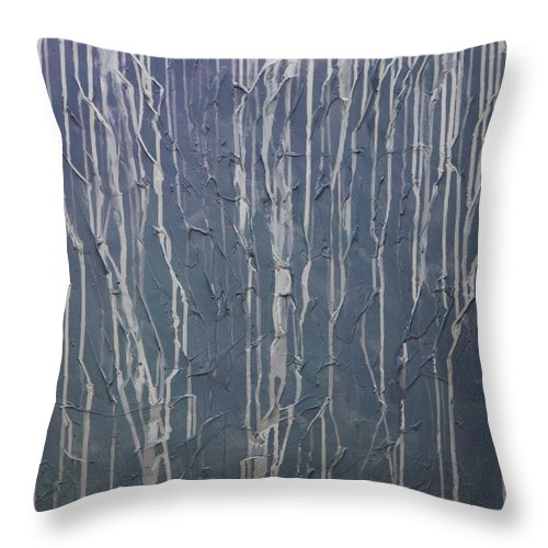 Abstract Throw Pillow featuring the painting Ruins by Sergey Bezhinets