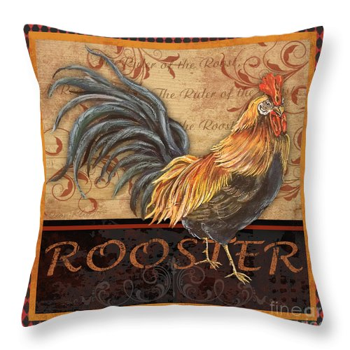 Painting Throw Pillow featuring the mixed media Ruler Of The Roost-1 by Jean Plout