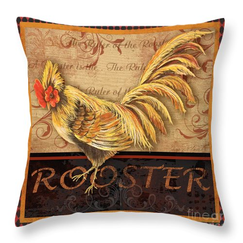Painting Throw Pillow featuring the mixed media Ruler Of The Roost-2 by Jean Plout