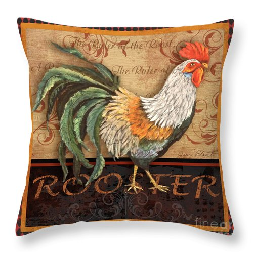 Painting Throw Pillow featuring the mixed media Ruler Of The Roost-3 by Jean Plout