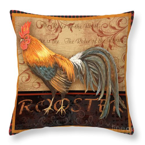 Painting Throw Pillow featuring the mixed media Ruler Of The Roost-4 by Jean Plout