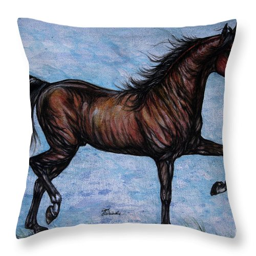 Horse Throw Pillow featuring the painting Running In The Blue by Angel Ciesniarska